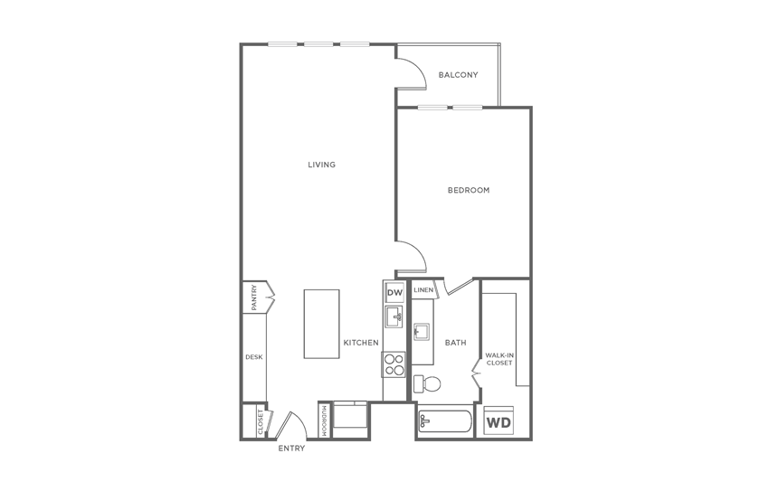 Floorplan showing the A7 floorplan for The Margo