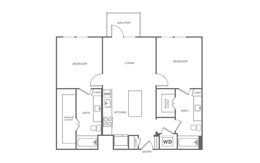 Floorplan showing the B1 floorplan for The Margo