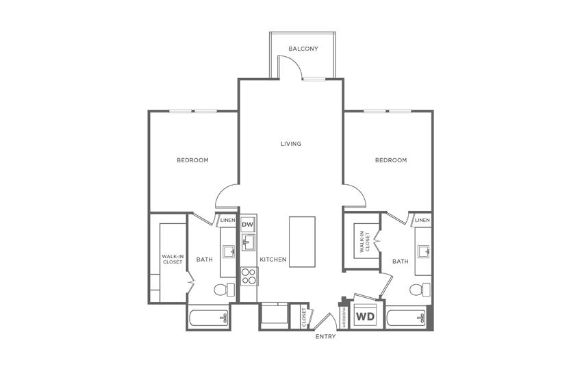 Floorplan showing the B2 floorplan for The Margo