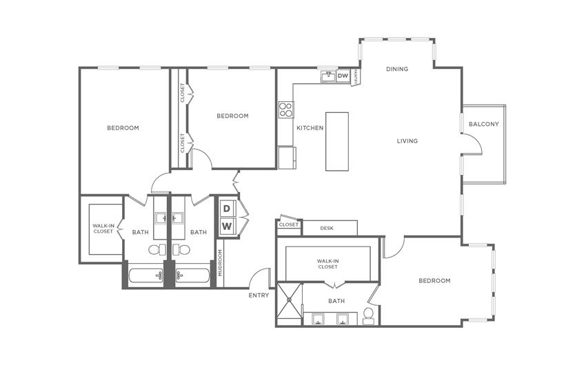 Floorplan showing the C1 floorplan for The Margo