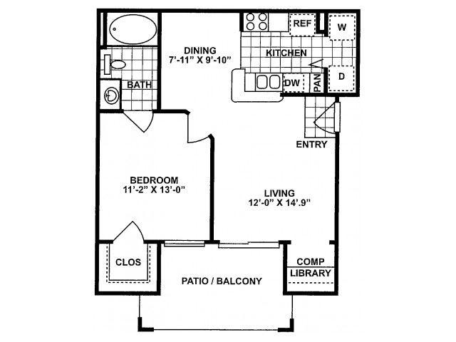 1X1A-SILVERPACKAGE Floor Plan| Lodges at Lakeline Village