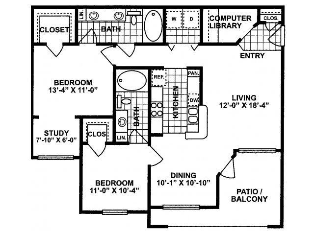 2X2 C Floor Plan| Lodges at Lakeline Village