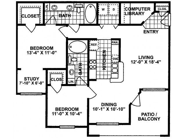 2X2C_SILVERPACKAGE Floor Plan| Lodges at Lakeline Village