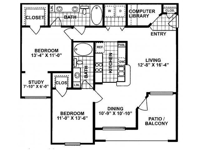 2X2 D Floor Plan| Lodges at Lakeline Village
