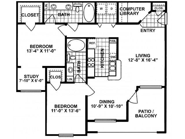 2X2D-SILVERPACKAGE Floor Plan| Lodges at Lakeline Village