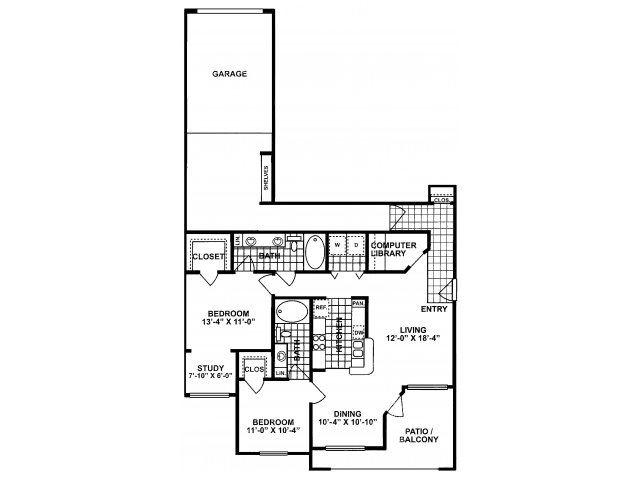 2X2E Floor Plan| Lodges at Lakeline Village