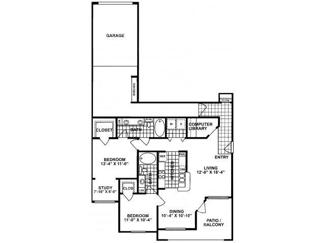 2X2E-SILVERPACKAGE Floor Plan| Lodges at Lakeline Village