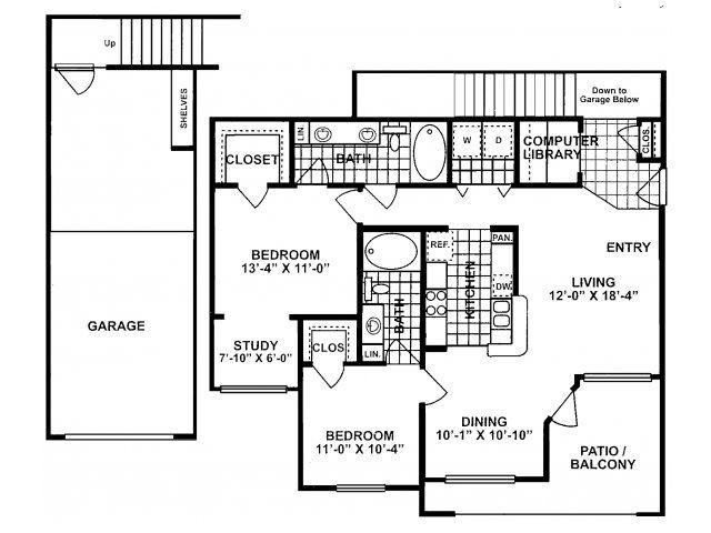 2X2F Floor Plan| Lodges at Lakeline Village