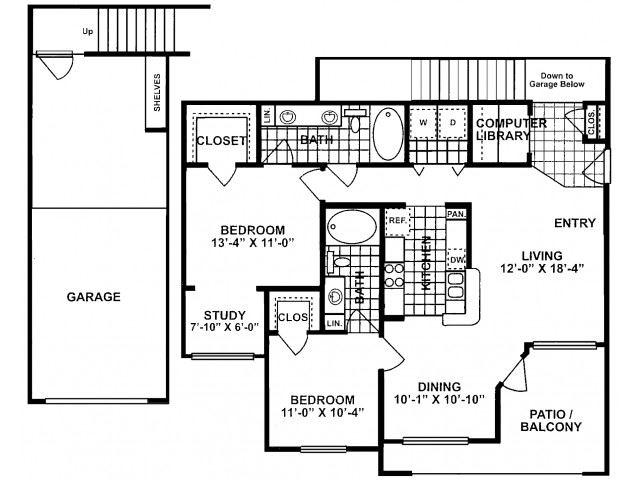 2X2F-SILVERPACKAGE Floor Plan| Lodges at Lakeline Village