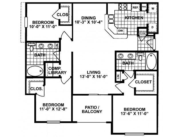 3X2H-SILVERPACKAGE Floor Plan| Lodges at Lakeline Village