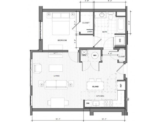 1BR E Floor Plan| Merc