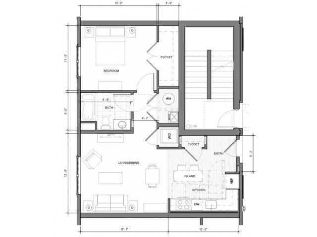 1BR F Floor Plan| Merc