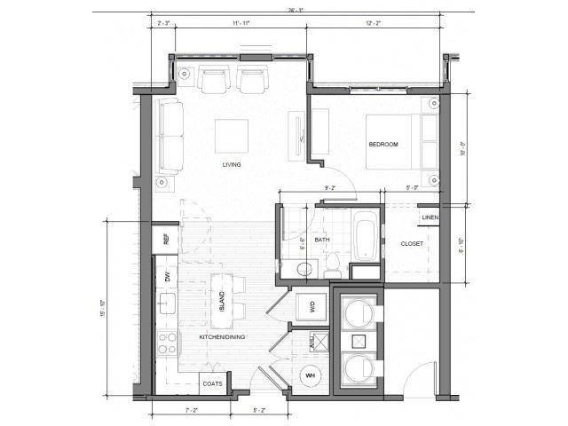 1BR G Floor Plan| Merc