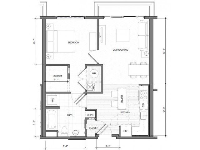 1BR Standard Balcony Floor Plan| Merc