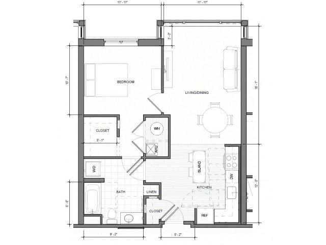 1BR Standard Floor Plan| Merc