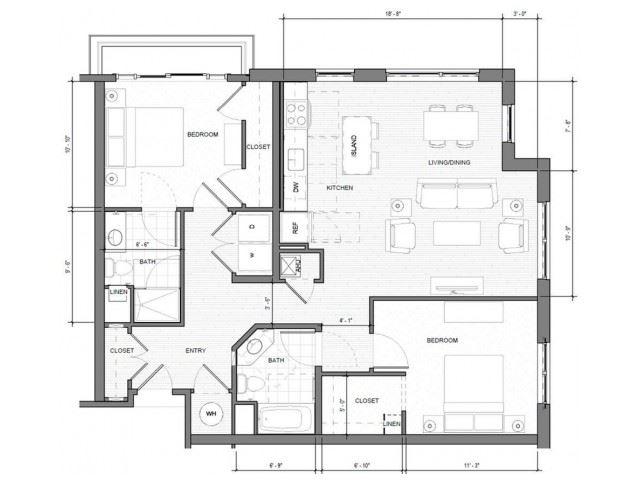 2BR-Corner-A-Balcony Floor Plan | Merc