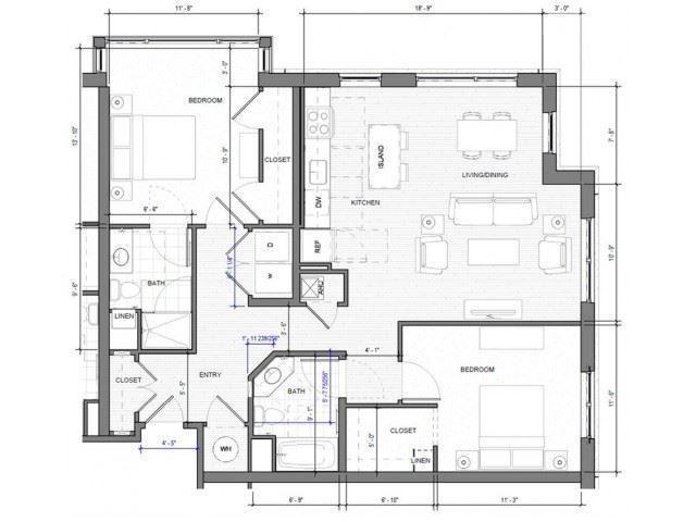 2BR Corner A Floor Plan| Merc