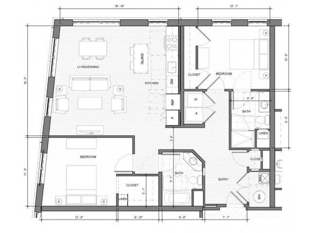 2BR-Corner-B Floor Plan| Merc