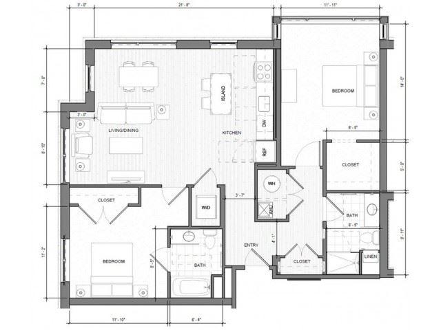 2BR-Corner-F Floor Plan| Merc