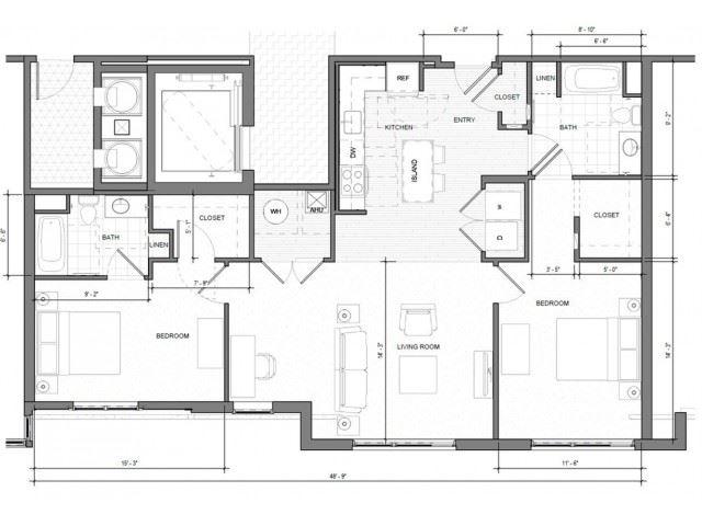 2BR-D Floor Plan| Merc