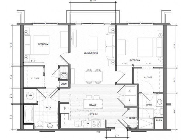 2BR-Standard-Balcony Floor Plan| Merc