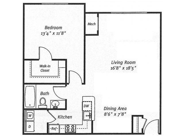 1Bed1Bath_857 Floor Plan  Residences at Westborough