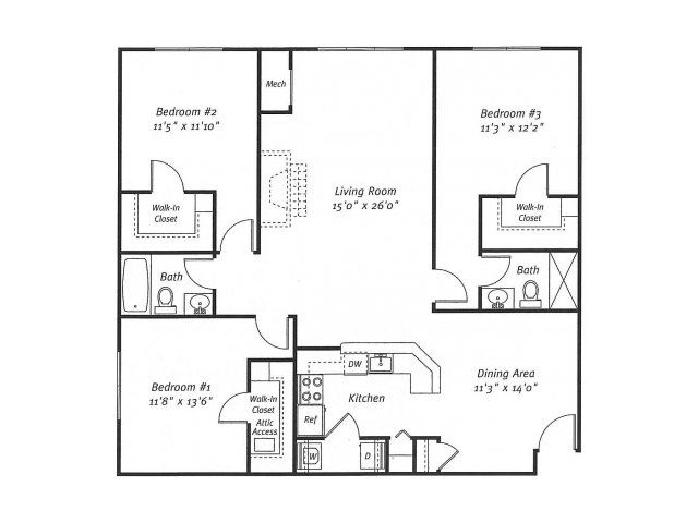 3Bed2Bath_1391 Floor Plan  Residences at Westborough