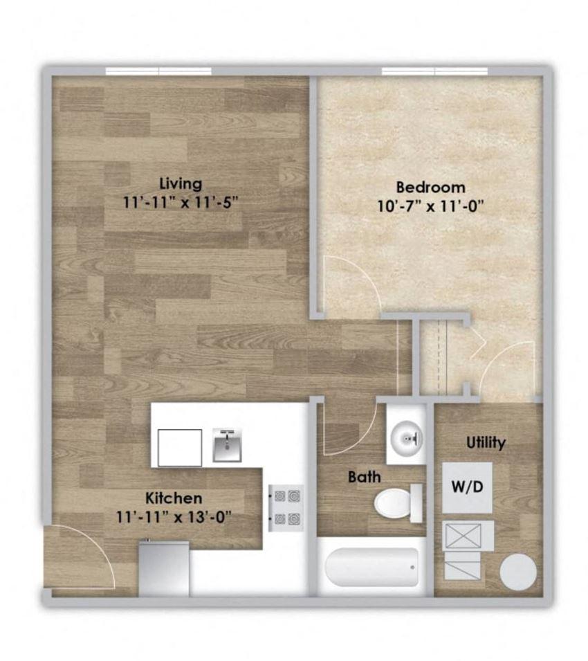 1 Bedroom - Second or Third Floor Style 104