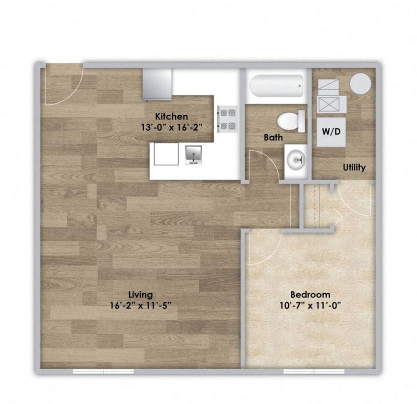 1 Bedroom - Second or Third Floor Style 106