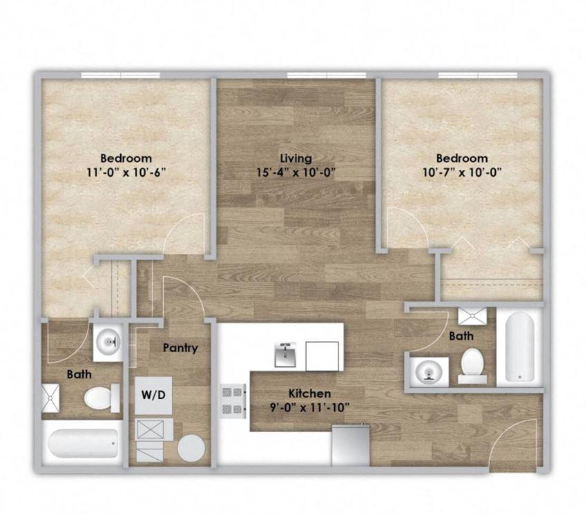 2 Bedroom - Second or Third Floor Style 204