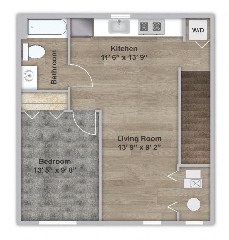 One Bedroom - Second Floor