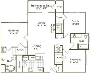 Two Bed/Two Bath Study