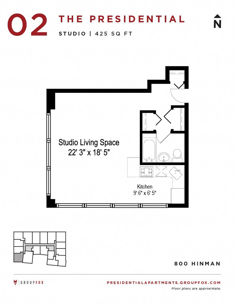 Presidential Apartments - Studio Floorplan 2