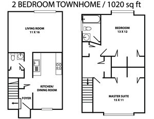Two bed 1.5 bath townhome
