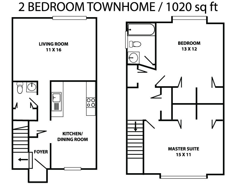 Two bed 1.5 bath townhome Floor Plan 3
