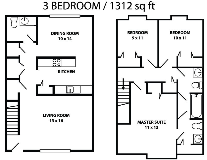 Three bed 1.5 bath townhome Floor Plan 4