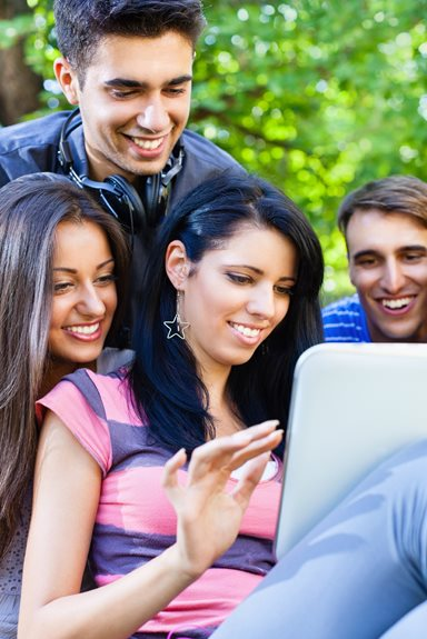group of students w computer