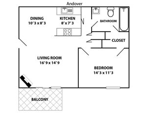 1 bed 1 bath Andover