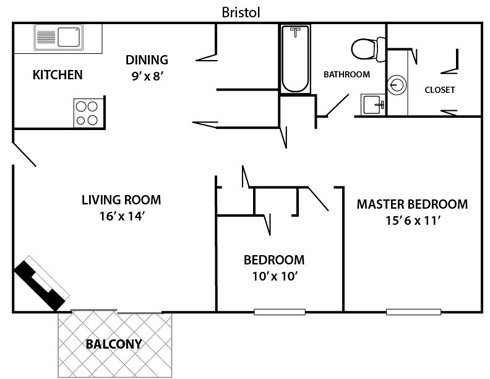 2 bed 1 bath Bristol Floor Plan 2
