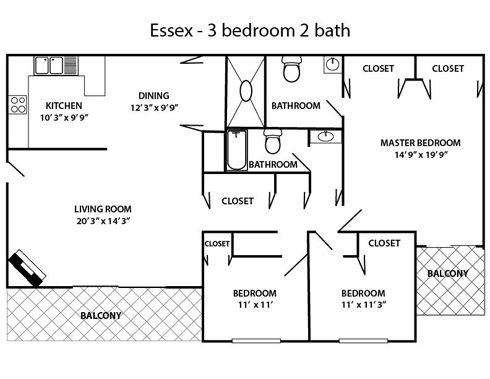 3 bed 2 bath Essex Floor Plan 5