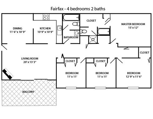 4 bed 2 bath Fairfax Floor Plan 6