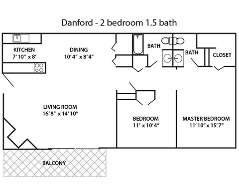 2 bed 1.5 bath Floor Plan 3