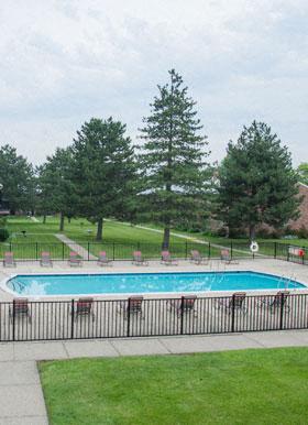Outdoor pool at apartments in Warren
