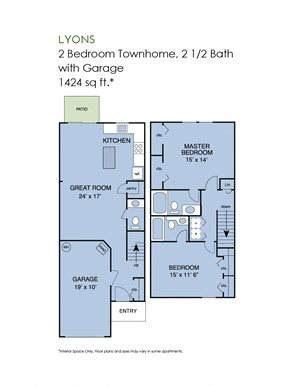 2 bedroom townhome with garage