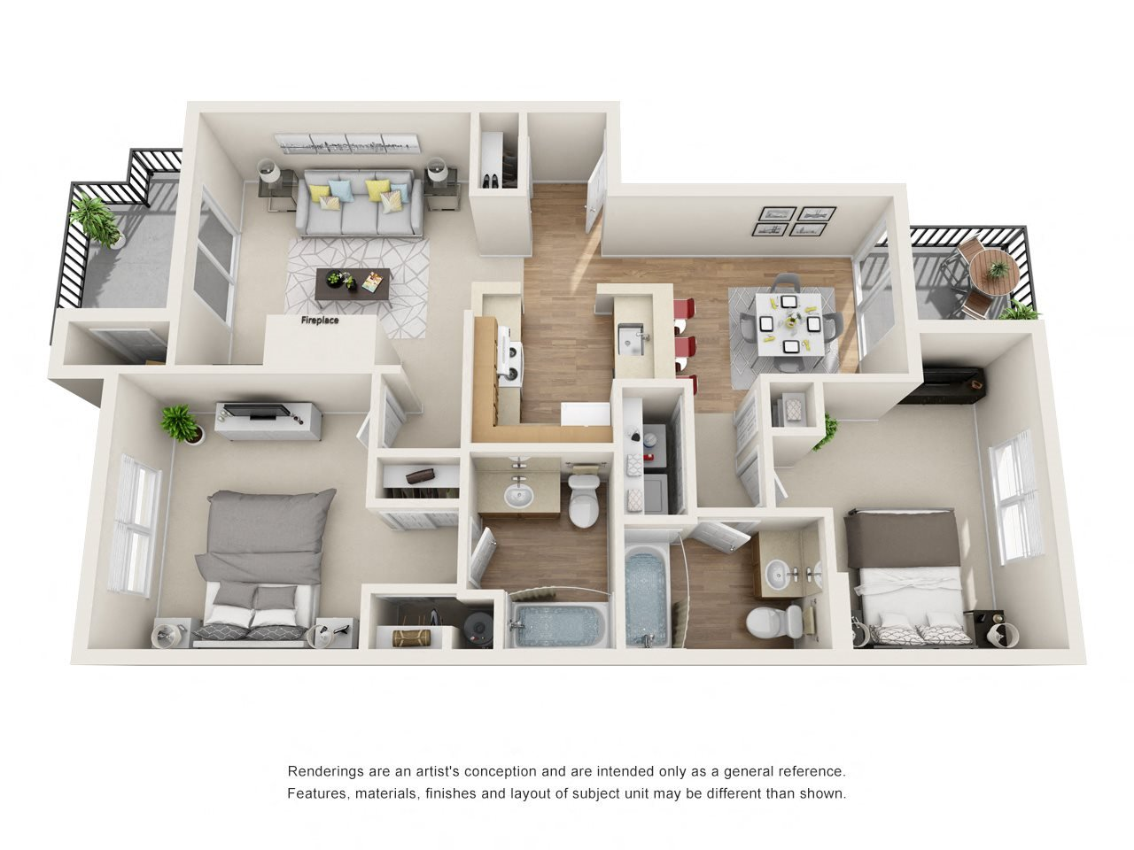 Large 2 Bedroom Floor Plan 6
