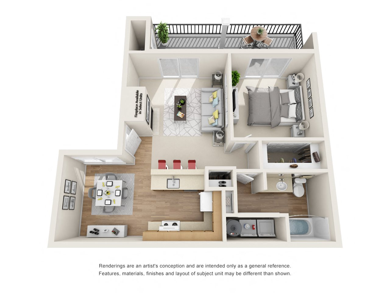 Large 1 Bedroom Floor Plan 2