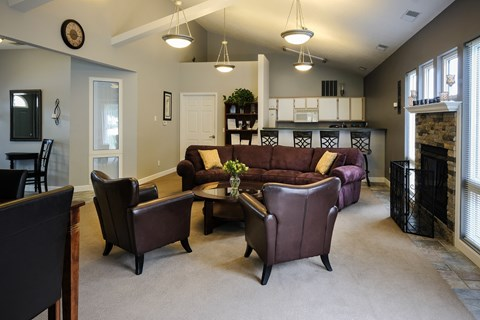 spacious clubhouse, upgraded furniture, kitchen space, small rental for guests, at regency apartments in Bettendorf Iowa