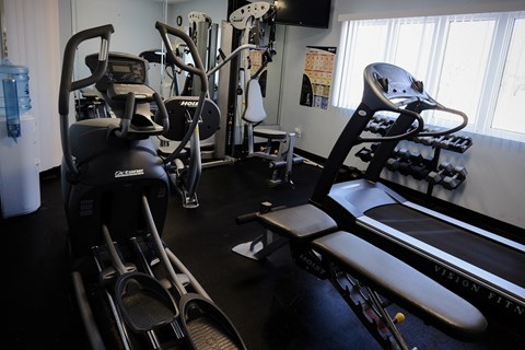Fitness center, fitness equipment, work out room, clubhouse, leasing office, at Regency Apartments in Bettendorf Iowa
