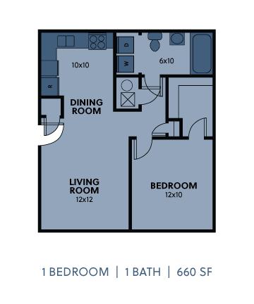 Regency Apartments 1 Bedroom 1 Bathroom 660 SF Floorplan