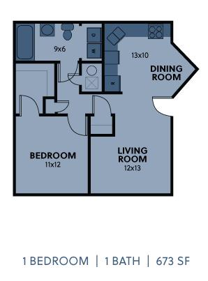Regency Apartments 1 Bedroom 1 Bathroom 673 SF Floorplan